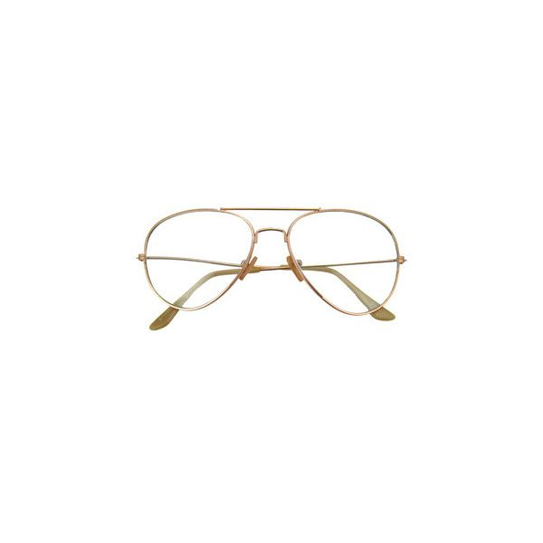 Gold Aviator Sunglasses with Clear Lenses ($11) ❤ liked on Polyvore featuring accessories, eyewear, sunglasses, glasses, gold glasses, clear glasses, lens sunglasses, lens glasses and clear eyewear