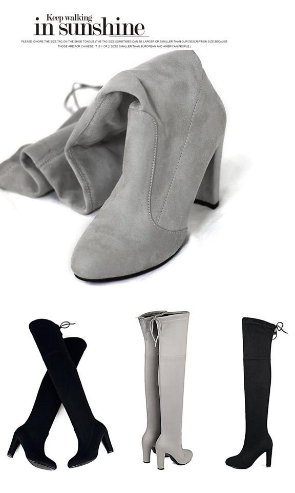 399af2f21887 Spring Autumn Woman Boots Fashion Thigh High Heel Boots Sexy Over the Knee  Stretch Slim Boot