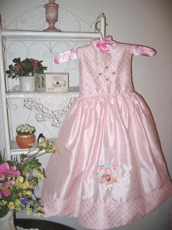 """Machine embroidery design set called """"Fleur"""" this is a child's silk dress"""