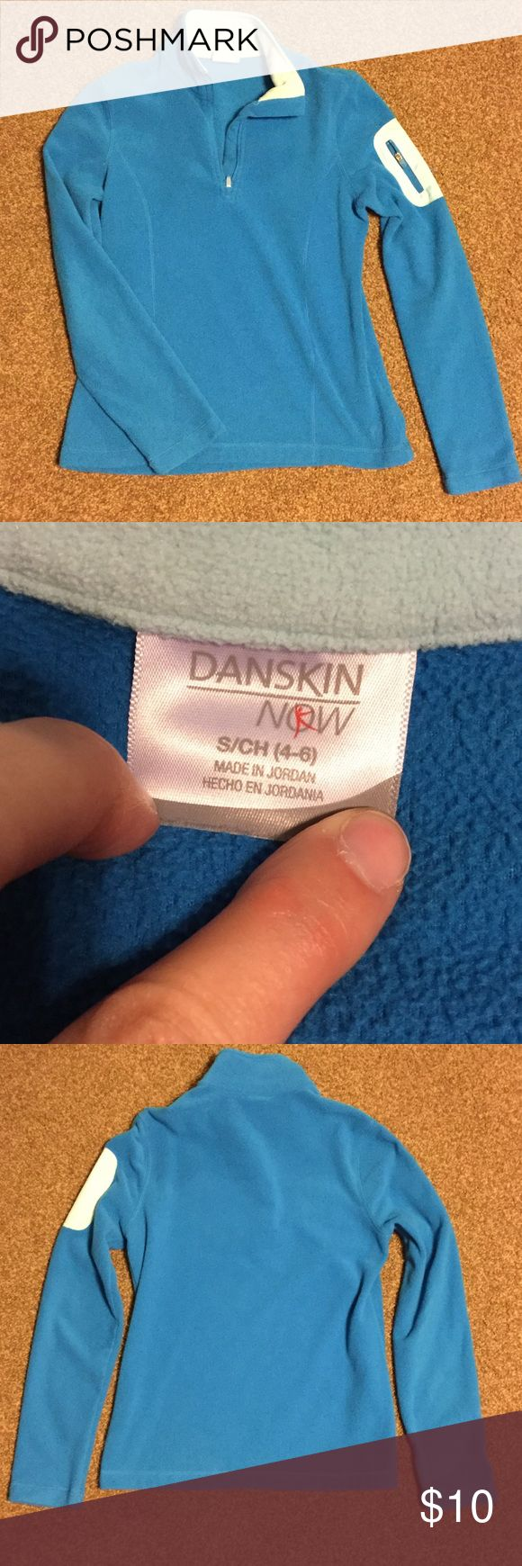 EUC Danskin Soft Fleece Pullover Super soft! Front short zip. Left arm zip pocket.  Slenderizing curved front seams. Danskin Now Tops Sweatshirts & Hoodies