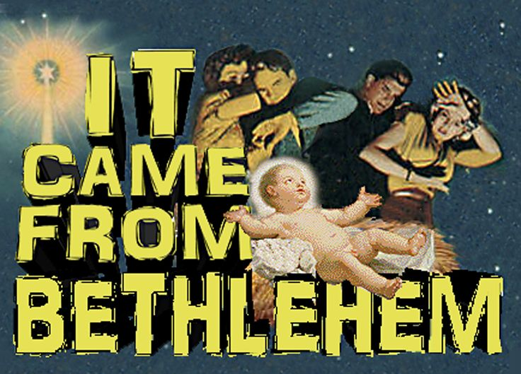 'It Came From Bethlehem' cassette cover for one of my yearly 'Scaree Eekmas' Xmas compilations, designed to offend everyone unlucky enough to receive a copy.