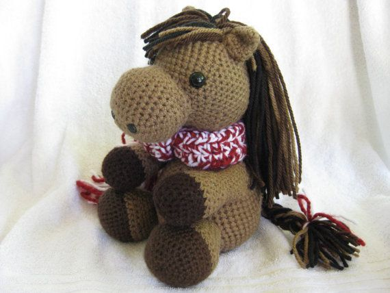 Crochet Stuffed Animal Brown Bronco Horse with Maroon by ZogPalz