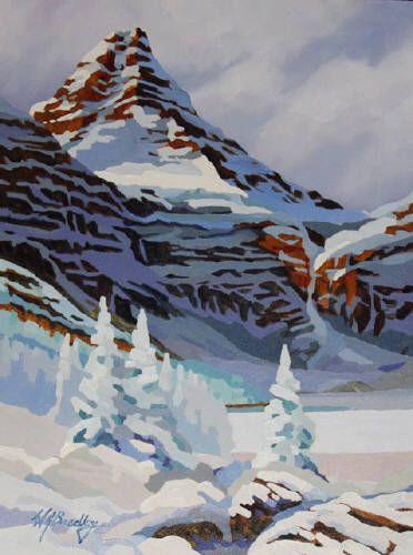 "WJ Bradley ASSINIBOINE, WINTER SKETCH 2 / Canada House Gallery - oil, board 16"" x 12"""