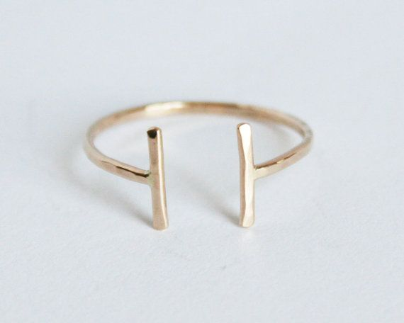 Open Thin Gold Ring, Thin Hammered 14kt Gold Filled Ring, Adjustable