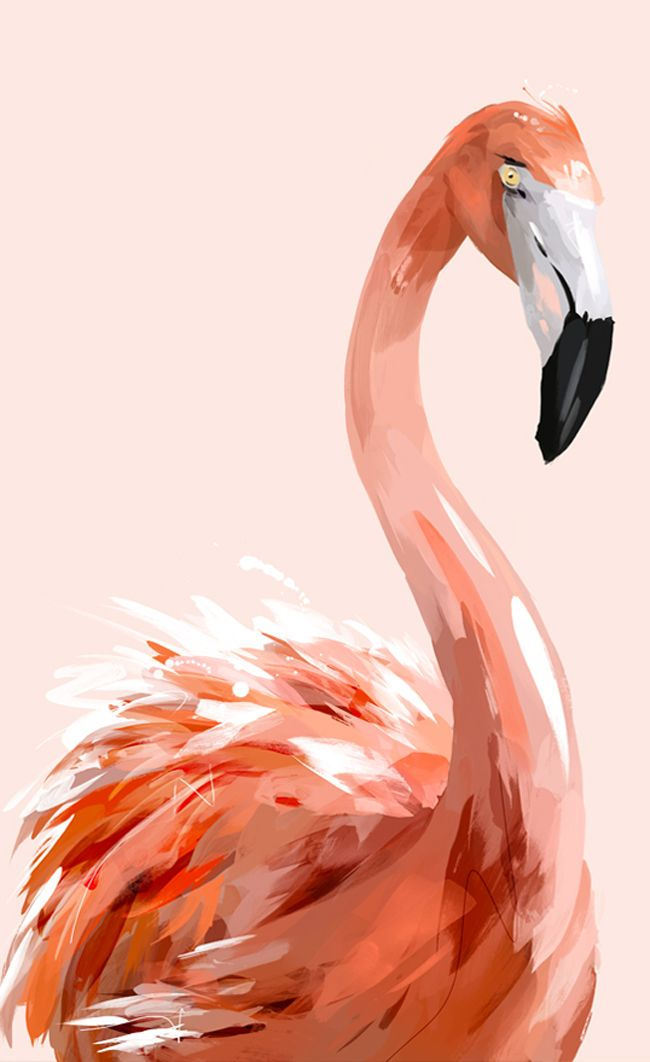 Print of painting of flamingo on pink background
