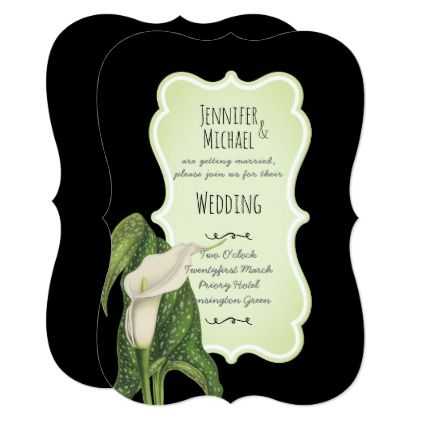 Calla Lily WEDDING Invitations Black Mint Green - gold wedding gifts customize marriage diy unique golden