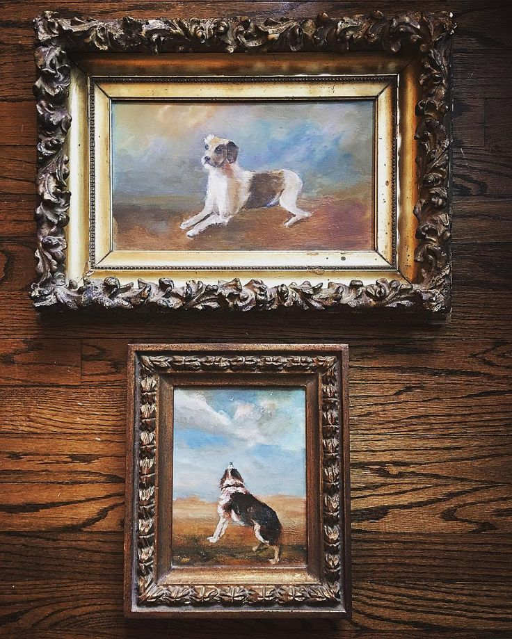 It's a good sale, people were nice, treasures were nice and prices were reasonable. First up, is this set of oil on canvas dog painting in dead gorgeous frames, signed and dated 1905. Price $25 each.
