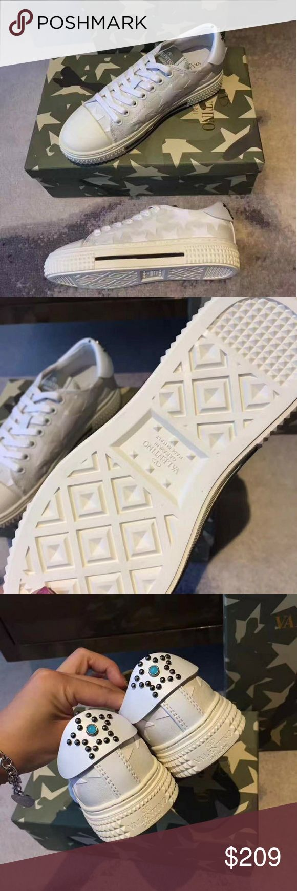 Valentino Sneakers Valentino Sneakers. Price reflects authenticity. Top quality. Run small order full size up. Please fallow a size  chart. Delivery 2 weeks. No returns or exchanges. size eu 36 = 22,5 - 23 cm, size eu 37 = 23 - 23,5 cm, size eu 38 = 23,5 - 24 cm, size eu 39 = 24 - 24,5 cm, size eu 40 = 24,5 - 25 cm, size eu 41 = 25 - 25,5 cm, size eu 42 = 25,5 - 26 cm. Shoes Sneakers
