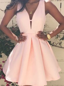 Vestido sin manga con vuelo -rosa