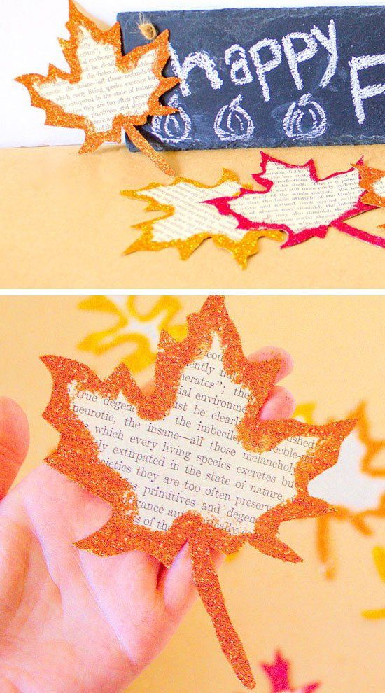 Glitter Edged Fall Leaves | 22 Easy Fall Crafts for Kids to Make | DIY Fall Crafts for Kids with Leaves
