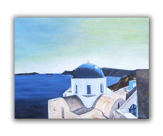 Santorini painting in oil greek island by OilpaintingsChrista, $340.00