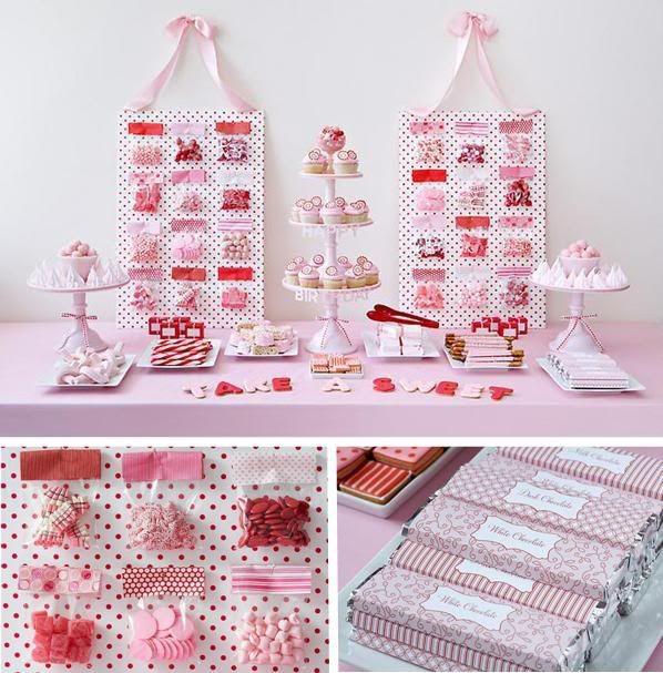 Roze snoeptafel/ candy buffet/ snoep buffet