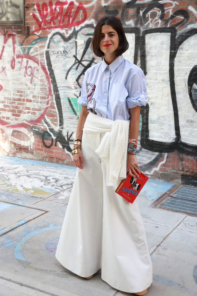 Leandra working a seriously wide leg. and a great shirt. NYC. #LeandraMedine #ManRepeller