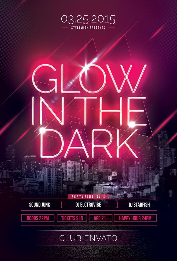 Glow In The Dark Flyer by styleWish on Graphicriver (Buy PSD file - $9) #design #poster #graphic
