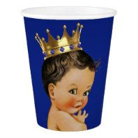 Prince baby shower paper plates with beautiful royal blue and gold jewel crown and blue prince banner on a rich gold swirl background.