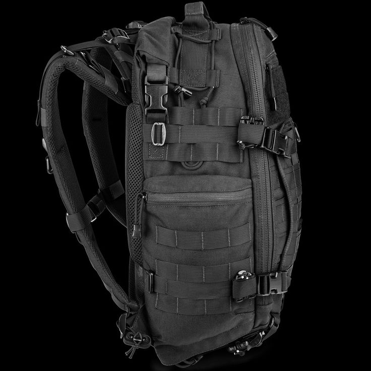 FAST Pack EDC Roll top compartment, integrated side pouch, suspension details, angled bottom.