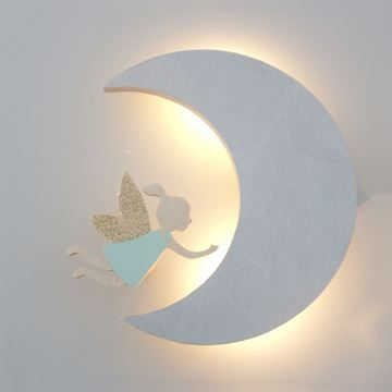 The Wall Collective Moon Night Light. Ever so sweet along side the Fairy wall hook. Emits a soft gliw perfect to be left on while little ones sleep.