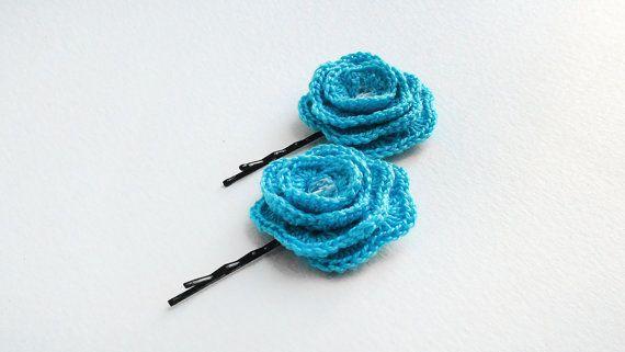 Hair pin Set of 2 Blue Flower Hair pins Bobby pins от HelenKurtidu, €5.00
