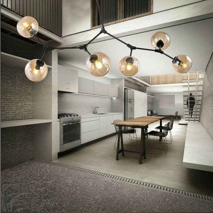 modern led pendant lights lamp for living room Restaurant suspension luminaire Light Fixture with E27 6x5W LED bulbs Black #Affiliate