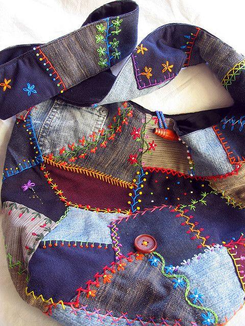 crazy quilt jeans into a shoulder bag