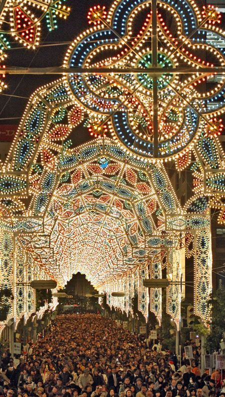 Kobe Luminarie, Japan: A light festival held in Kobe, Japan, every December since 1995 to commemorate the Great Hanshin earthquake of that year.