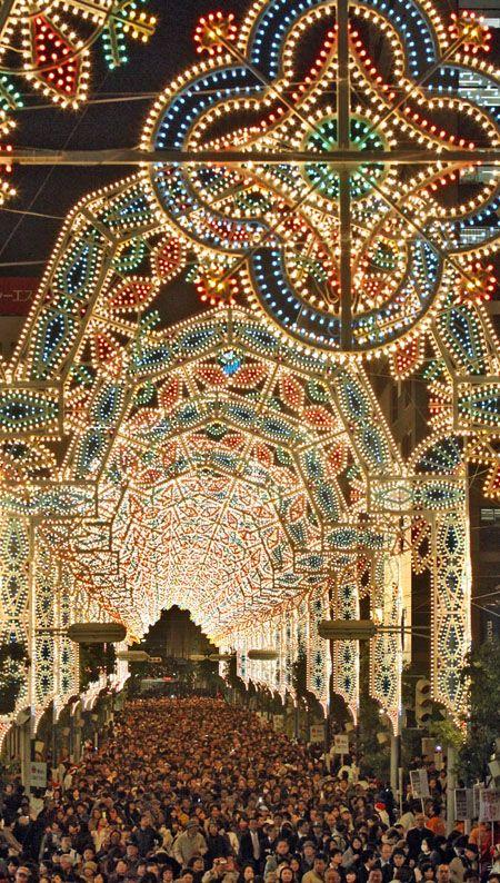 Kobe Luminarie light festival (Motomachi - Sannomiya) in December every year since 1995, Hyogo, Japan 神戸ルミナリエ