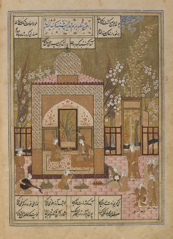 Folio from a Khamsa (Quintet) by Nizami (d.1209); verso: Bahram Gur visits the princess in the sandal pavilion; recto: text, princess begins storytelling 1548 Safavid period Ink, opaque watercolor and gold on paper H: 31.1 W: 19.7 cm Shiraz, Iran F1908.276 Freer-Sackler | The Smithsonian's Museums of Asian Art