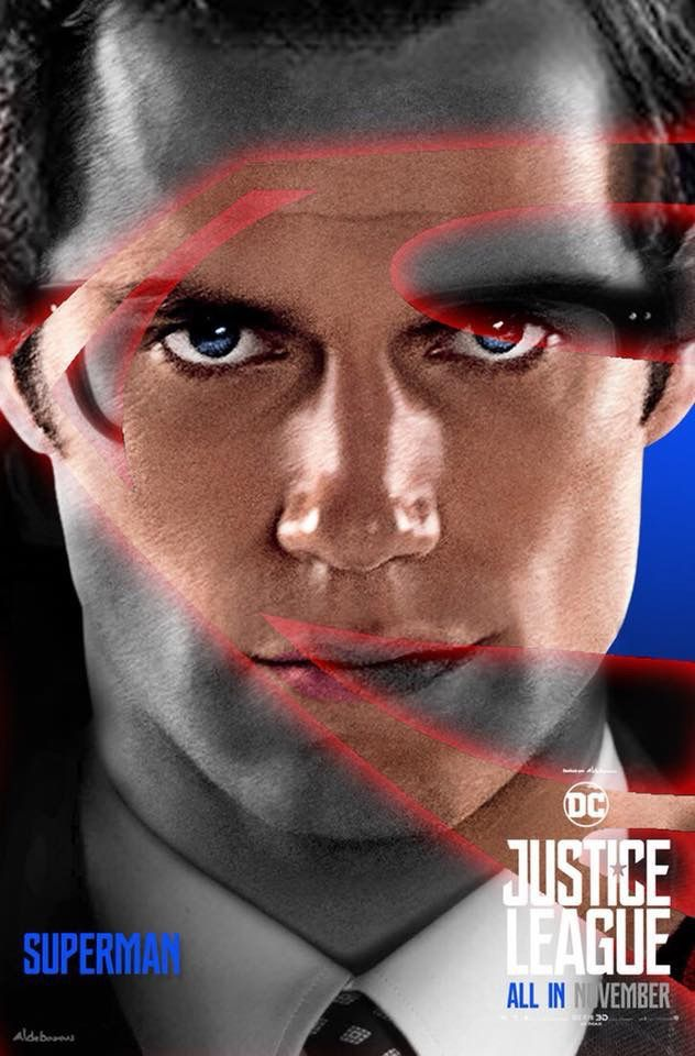 DC Comics Justice League Movie Poster 2017 Featuring Close Up Of Superman aka Clark Kent Played By Henry Cavill - DigitalEntertainmentReview.com