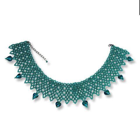 Handmade Turquoise Shimmering Beaded Choker Necklace