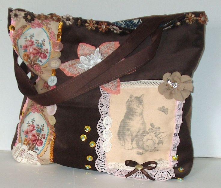 BORSA handbag vintage GATTO gattino VICTORIAN GYPSY shabby chic handtaschen SAC