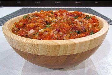 Roasted Tomato Salsa: Recipes: I made this with orange cherry tomatoes, extra cilantro, garlic and lime. Phenom!