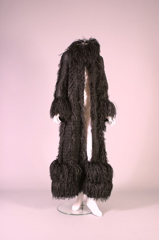CHANEL by Karl Lagerfeld, Smocked chiffon and ostrich feathers evening coat, Haute couture, circa 1990