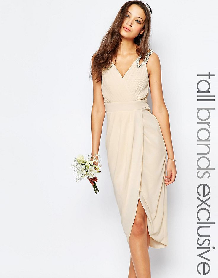 Tfnc tall wedding wrap embellished midi dress bridesmaid for Tall dresses for weddings