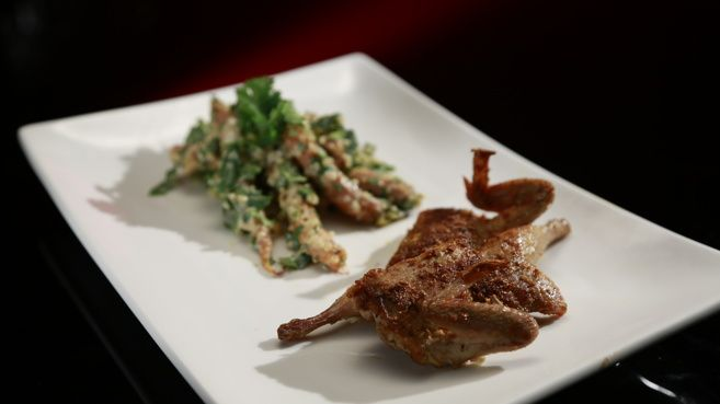 Chermoula Quail With Roasted Baby Carrots And Quinoa Salad -  MKR 2014  (can use chicken instead of quail)