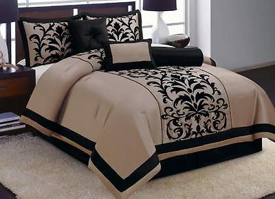 7 Pc Taupe Brown Black Flocking Comforter Set King Size