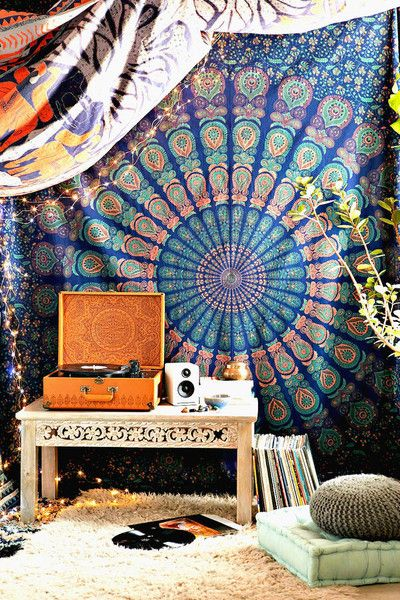Bedding – Large Hippie Tapestry Mandala Boho Bedspread Throw – a unique product by IndianCraftPalace on DaWanda