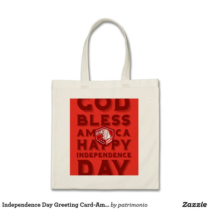 "Independence Day Greeting Card-American Bald Eagle. Tote bag designed with an illustration of an American bald eagle head looking to the side with stars and stripes on its neck set inside a shield with the words ""God bless America, Happy Independence Day."" #IndependenceDay #4thofJuly #totebag"