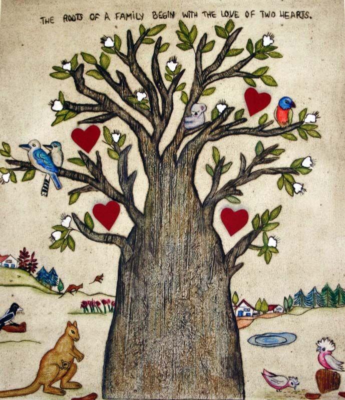 Lygia Dantas - Perth Artist Family Tree Calendar  Calendar Print - Original Collagraph & Watercolour Family Tree