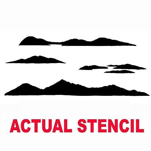 Cutting Edge Stencils - Mountain Ranges Stencil. $19.95. See more Fresco and Mural Stencils: http://www.cuttingedgestencils.com/wall-stencils-murals-oaks.html    #fresco #mural #stencils #cuttingedgestencils #stenciling #stencilpatterns