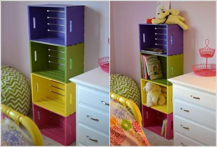 Painted Wooden Crate Projects: Make a Cute and Colorful Bookcase for Your Kiddos' Room