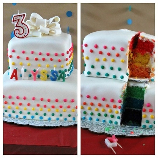 Rainbow cake covered with white fondant and self decorated with candy dots