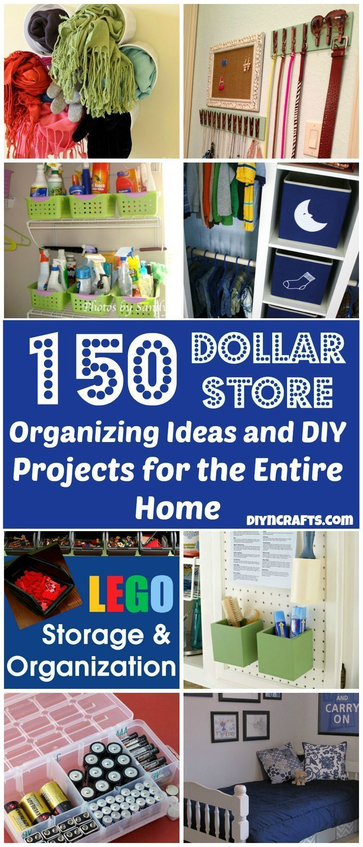 These are some great, inventive ideas for storage. If you're trying to avoid buying cheap, plastic items, adapt these ideas for vintage, found, swapped or already-owned containers! - 150 Dollar Store Organizing Ideas and Projects for the Entire Home