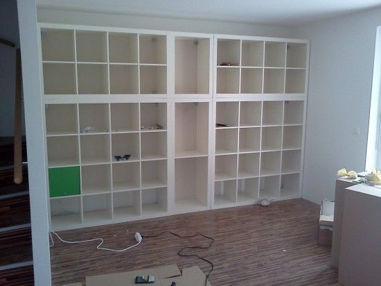 This is a fabulous DIy home decor idea! Ikea EXPEDIT giant built in - for a home office.