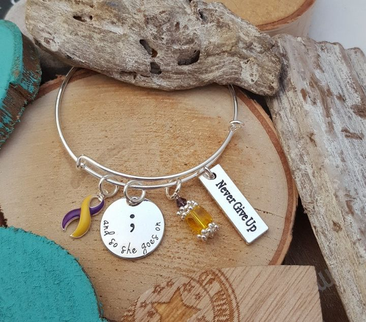 YP-4 Endometriosis & Fibromyalgia So She Goes On Jewelry Never Give Up Semicolon Bracelet Semicolon Jewelry Autoimmune Hepatitis