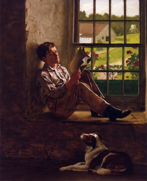 'The Study Hour (1905) by John George Brown (1831-1913). Born in Durham, England Brown emigrated to New York at age 22, where he adapted British genre paintings to American subjects.