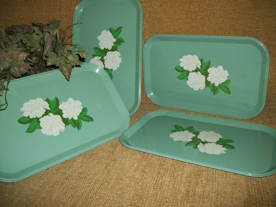 Set of Four Vintage 1940's Mint Green Metal Serving Trays, White Gardenia Flowers, Cottage Chic Home Decor