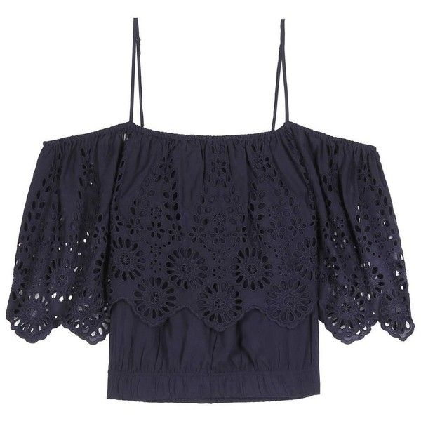 Ganni Yoko Lace-Trimmed Off-the-Shoulder Blouse (365 BRL) ❤ liked on Polyvore featuring tops, blouses, shirts, crop top, blusas, blue, blue off the shoulder top, crop blouse, shirt blouse and blue off shoulder top