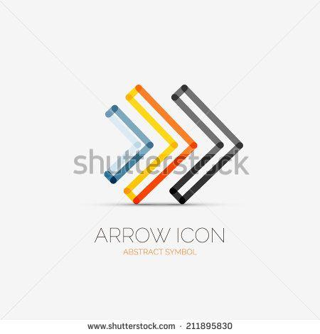 Vector right arrows company logo design, business symbol concept, minimal line style