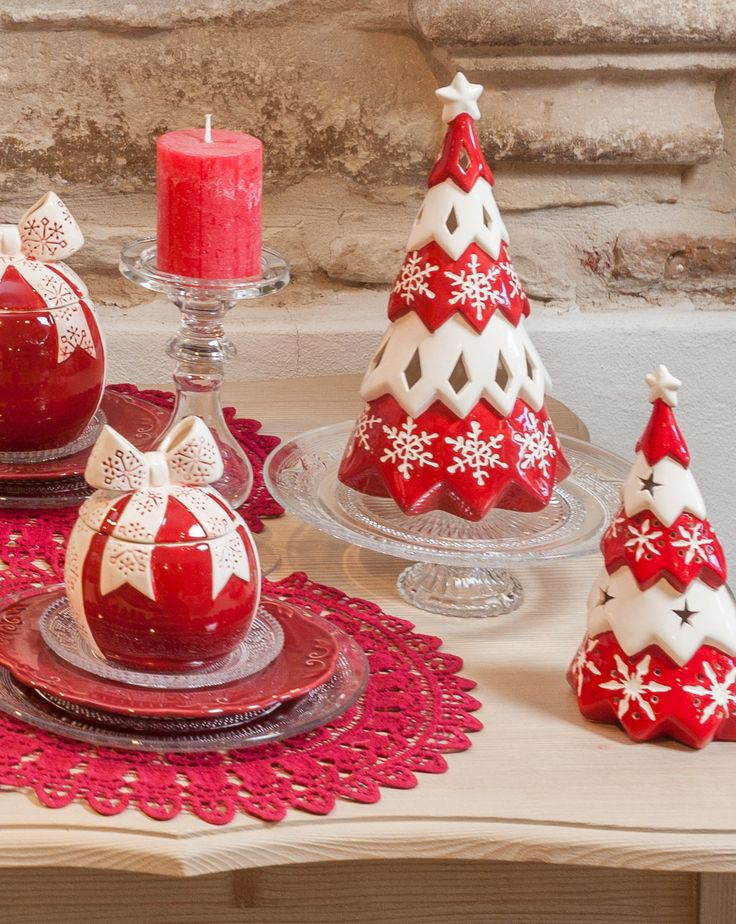 Candy red bowls and sparkling magical candle holder trees only for families