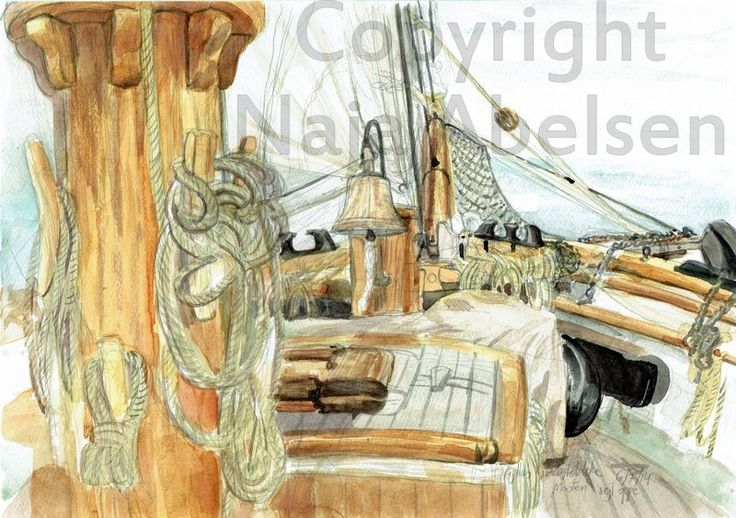 An Aquarelle study made on the schooner Fylla, while having art students on the ship! Done with lots of smaller or bigger brakes as the sailing took place, with sails moved from the one to the other side, or the crew wanting us to move away while taking sails down etc etc. A3. 2014. By Naja Abelsen